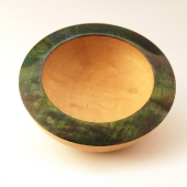 Maple bowl with dyed rim