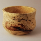 Pecan bowl with bark inclusions