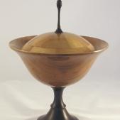 Cherry pedestal dish, segmented lid